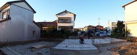 現場。土間コンクリート完了 「各務原の家」