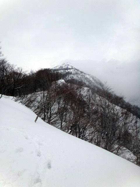 山登り 能郷白山 前山はガスに包まれている