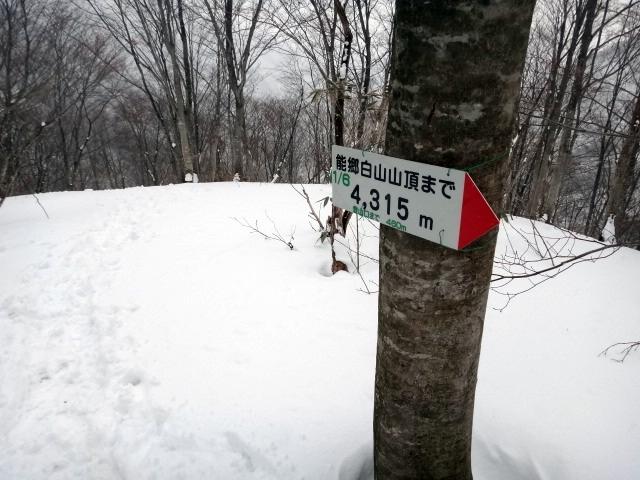 山登り 能郷白山 1枚目のプレートまで降りてきました