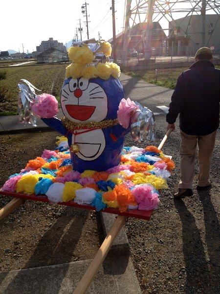 岐阜市又丸の津島神社 春の大祭 ドラえもん神輿