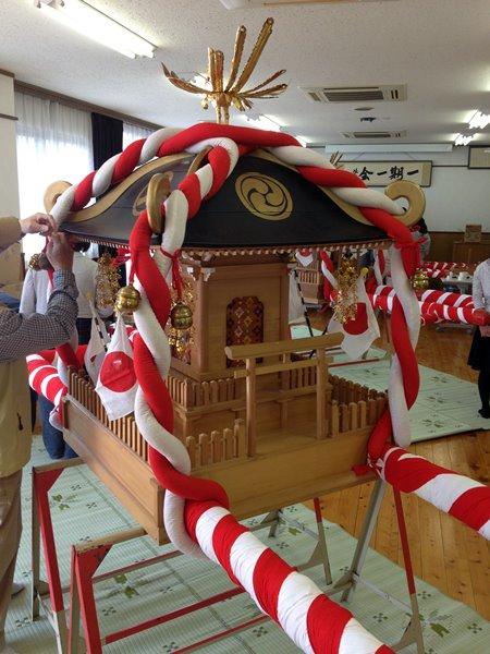 岐阜市又丸の津島神社 春の大祭 本神輿 準備