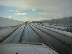 長良川の堤防道路、雪が積もりました。桜並木に雪がキレイです