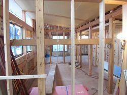 岐阜のFrameWork設計事務所の現場「上土居の家」 天井にボードが張られました