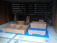 岐阜のFrameWork設計事務所の物件「七郷の家」の車庫でDIY 合板を組み立ててできあがったのは本棚