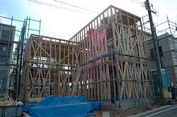 岐阜のFrameWork設計事務所の現場「大府の家」 木造2階建です。道路からの外観は窓がありません