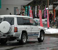 パジェロで岐阜県の世界遺産白川郷へ 長良川SAで休憩 残雪があります