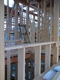 岐阜のFrameWork設計事務所の現場「大野町の家」2階書斎コーナーから廊下を見ています。