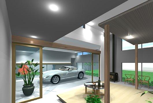 岐阜のFrameWork設計事務所のプレゼンパース 福井の家 ポルシェをながめる生活 内観