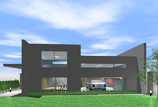 岐阜のFrameWork設計事務所のプレゼンパース 福井の家 外観パース 北側から