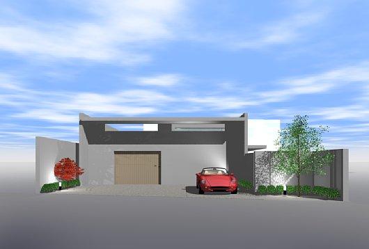 岐阜のFrameWork設計事務所のプレゼンパース 福井の家 外観パース 南側から