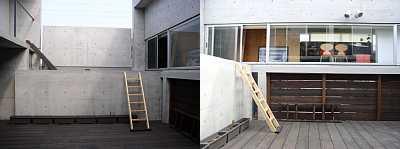 岐阜 FrameWork設計事務所 七郷の家 中庭 DIY ハシゴ