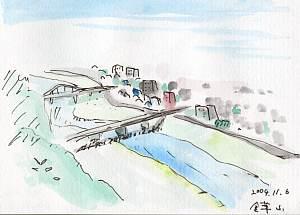 岐阜県岐阜市 金華山からの眺望の絵 長良川 忠節橋が見えます