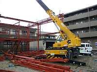 岐阜 中古車販売 FrameWork設計事務所 SAM GARAGE 建方 上棟 クレーン 鉄骨造